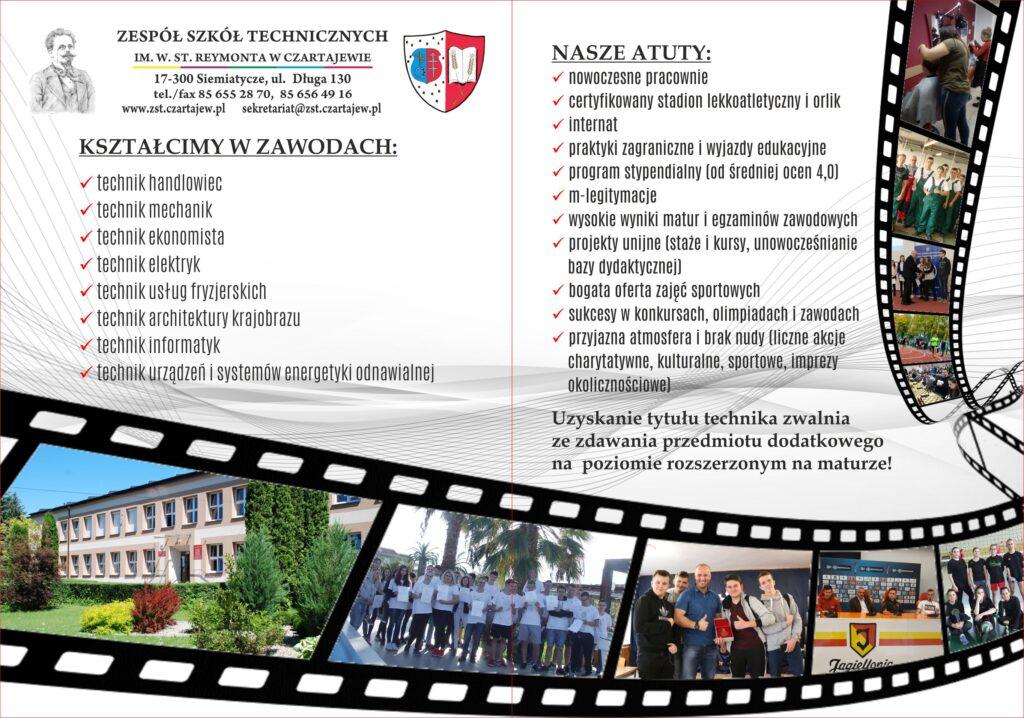 broszura informacyjna Zespołu Szkół Technicznych w Czartajewie