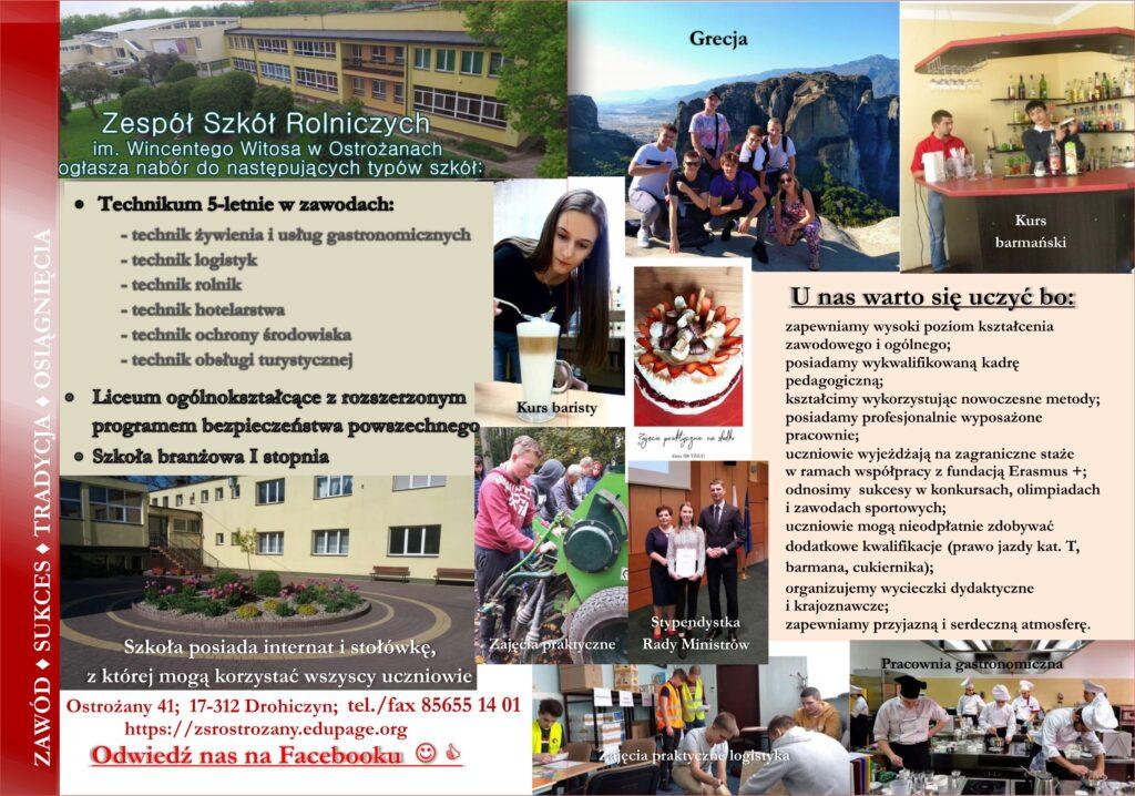 broszura informacyjna Zespołu Szkół Rolniczych w Ostrożanach