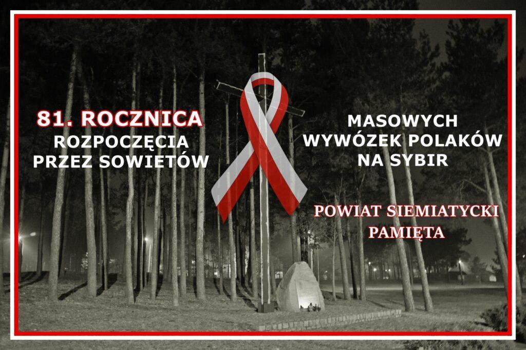 Zdjęcie przedstawia grafikę związaną z 81 rocznicą masowych wywózek Polaków na Sybir