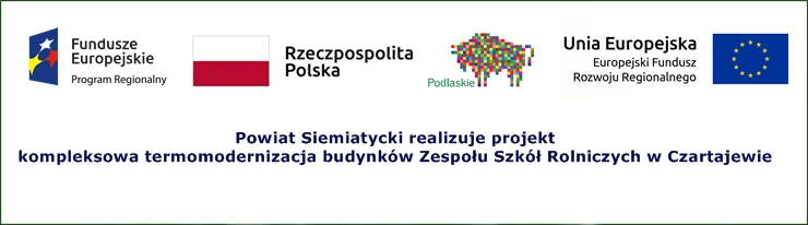 """Odnośnik do projektu """"Kompleksowa termomodernizacja budynków Zespołu Szkół w Czartajewie"""""""
