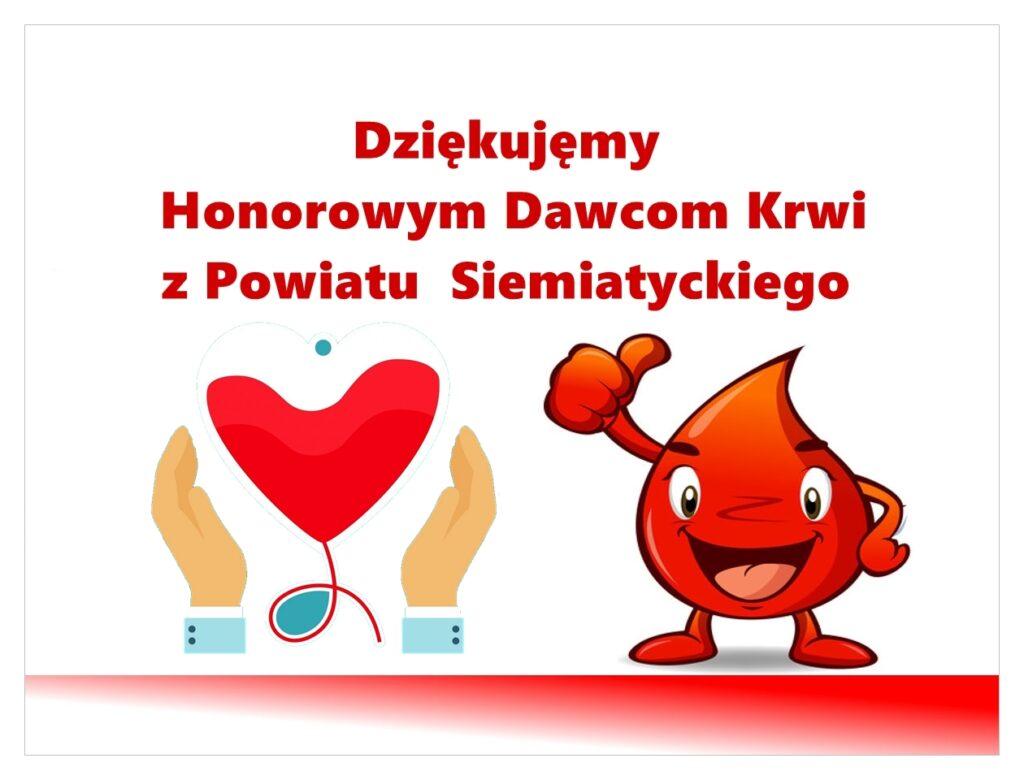 grafika podziękowanie honorowym dawcom krwi z powiatu siemiatyckiego
