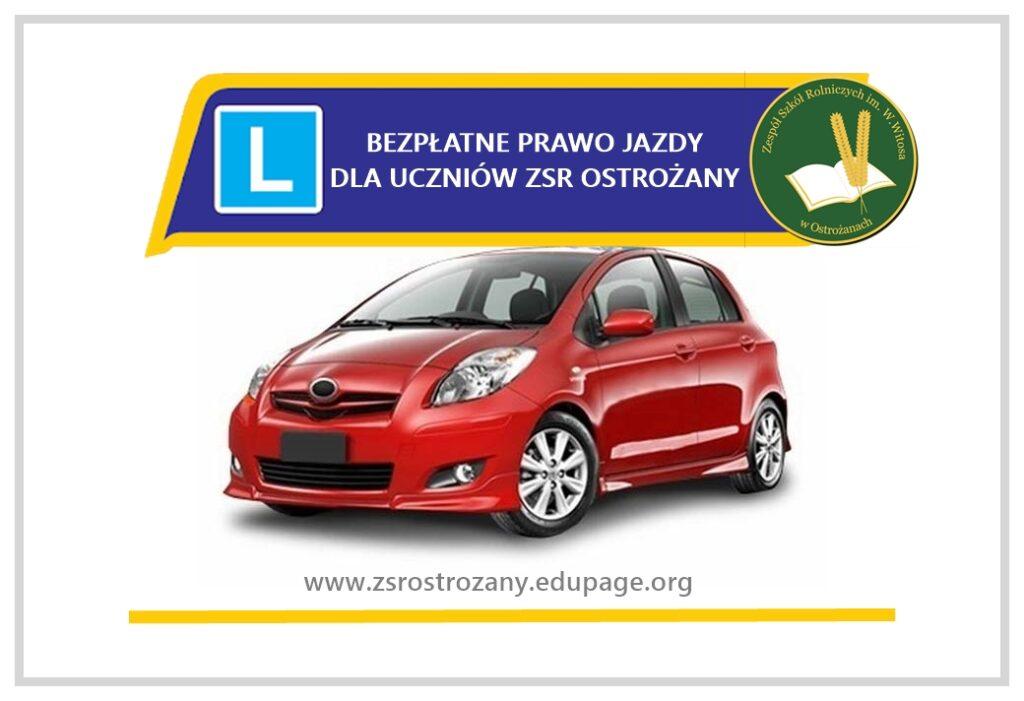 Grafika bezpłatny kurs prawa jazdy dla uczniów ZSR Ostrożany