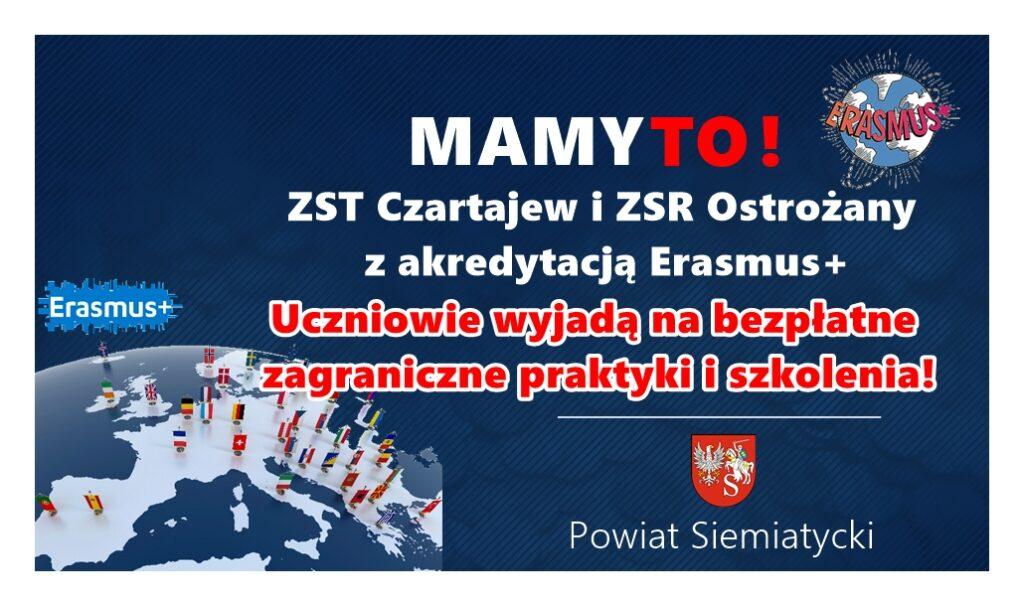 Grafika akredytacje program erasmus plus dla szkół powiatu siemiatyckiego